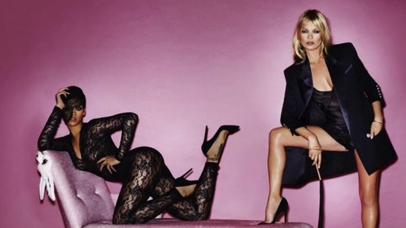 Оголенные Кейт Мосс и Рианна в съемке Vogue