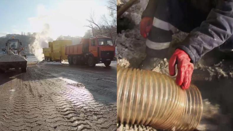 В Киеве занялись плавкой снега